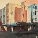 Le City Hall - Ancien cinéma - Peinture de Cuba par Michelle Auboiron