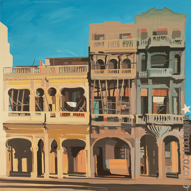 Peinture sur le Malecon de la Havane par Michelle Auboiron