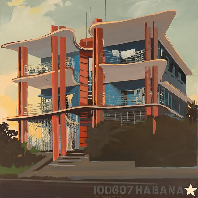 La Villa Papillon - Peinture d'architecture de le Havane par Michelle Auboiron