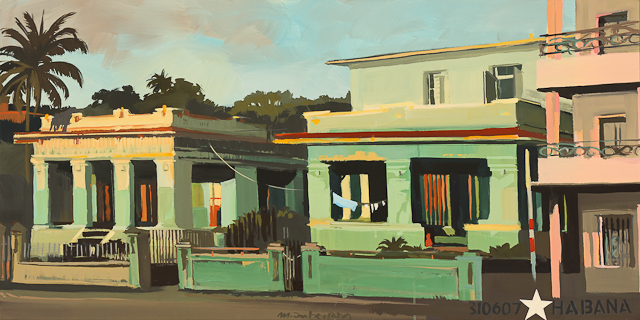 Les maisons vertes - Peinture d'architecture cubaine par Michelle Auboiron