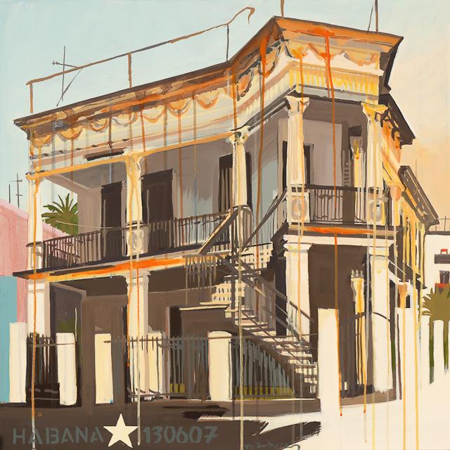 Peinture de Michelle Auboiron - Les villas de la Havane