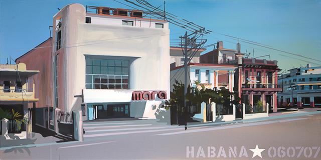 Le Mara - Vieux cinéma de la Havane - Tableau de Michelle Auboiron