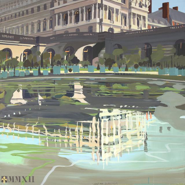 Reflets du Château dand le Bassin de l'Orangerie - Peinture du Parc du Château de Versailles par Michelle AUBOIRON