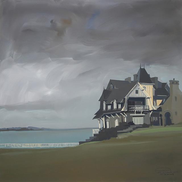 Peinture de la Villa Les Terrasses à Saint Briac sur Mer par Michelle AUBOIRON