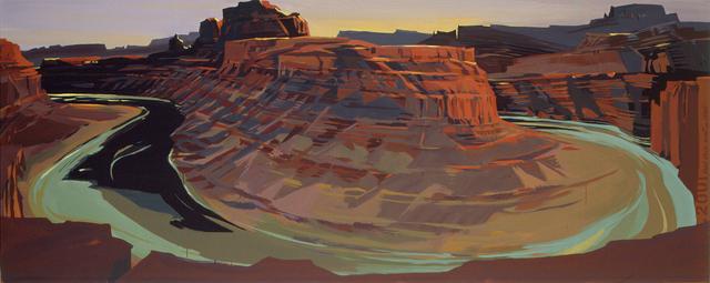 Peinture de l'Ouest américain par Michelle Auboiron - Canyonland - Potash Road - Moab - Utah