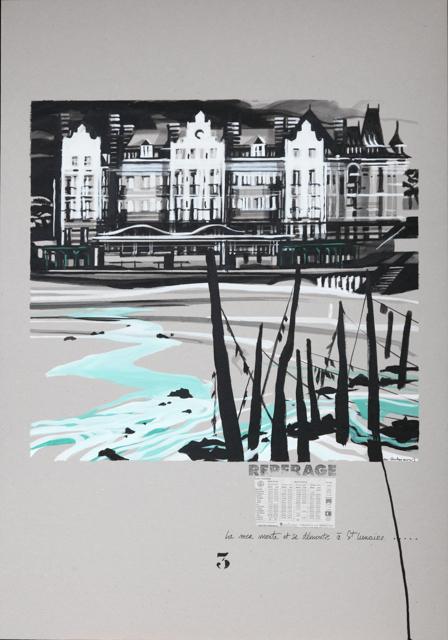 Le Grand Hôtel à Saint Lunaire - Peinture de Dinard par Michelle Auboiron - Acrylique sur carton 100 x 70 cm