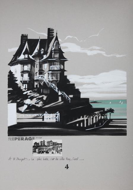 Villa Rosavel - Saint Enogat - Peinture de Dinard par Michelle Auboiron - Acrylique sur carton 100 x 70 cm