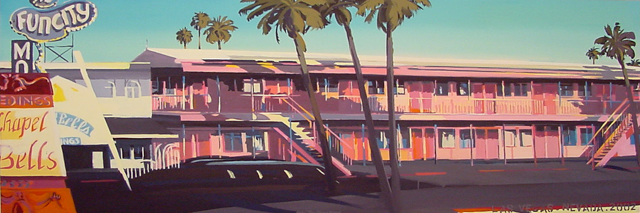 Fun City Motel - Série Motels des fifties (Las Vegas) - Peinture de Michelle AUBOIRON