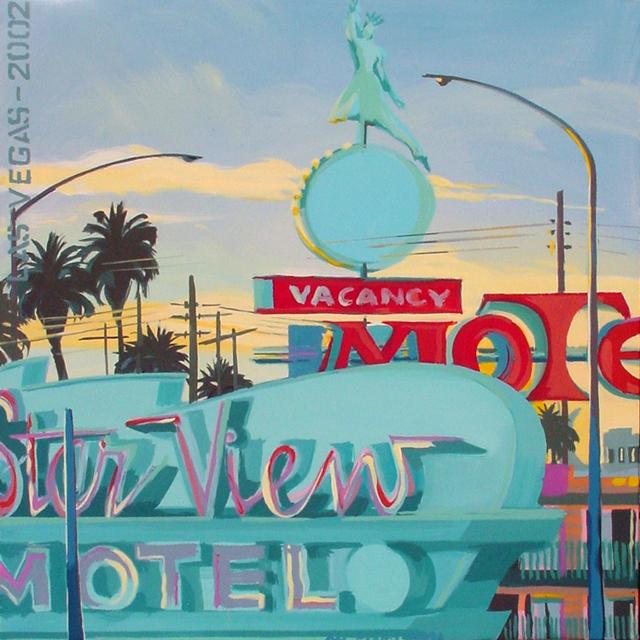 Star View Motel - Série Motels des fifties (Las Vegas) - Peinture de Michelle AUBOIRON