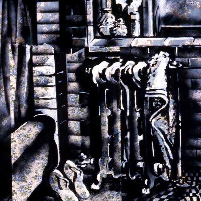 Chambre 12 - Peintures de Michelle Auboiron - Série Central Hôtel - Acrylique et bombe sur papier peint.