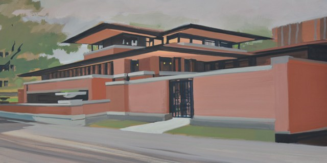 No18-Robie-House-Frank-Lloyd-Wright-Chicago-painting-Michelle-Auboiron