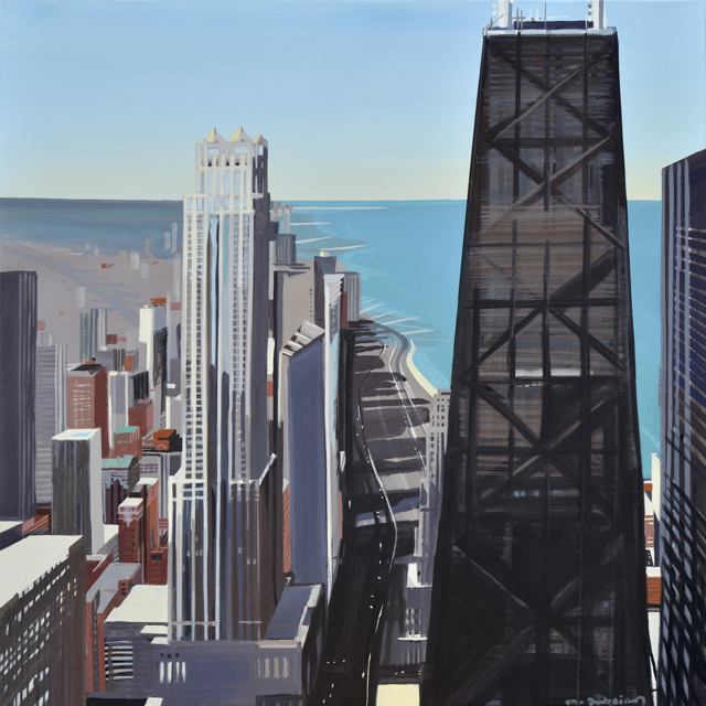 Peinture de Chicago par Michelle AUBOIRON - Painting of Chicago by Michelle AUBOIRON - John Hancock Center from the deck