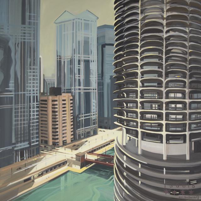 Peinture de Chicago par Michelle AUBOIRON - Painting of Chicago by Michelle AUBOIRON - Marina City
