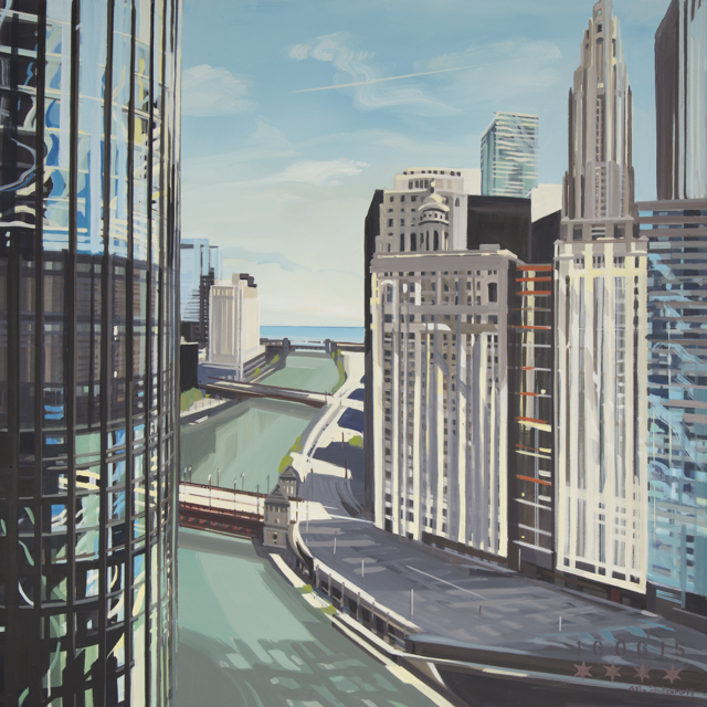 Peinture de Chicago par Michelle AUBOIRON - Painting of Chicago by Michelle AUBOIRON - Chicago River and Trump Tower from IBM Building