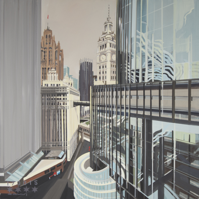 23-Wrigley-Building-and-Tribune-towers-Chicago-depuis-IBM-Tower-painting-by-Michelle-Auboiron-120x120-160615