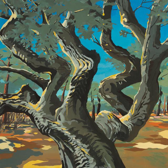 Le chêne de Cala Rossa - Peinture de Corse de Michelle Auboiron