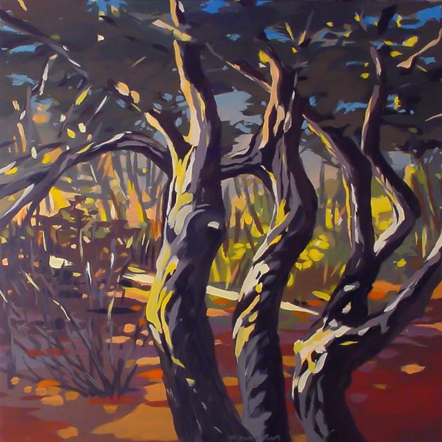 Chênes-liège de Cala Rossa - Peinture de Corse de Michelle Auboiron