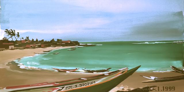 """Le """"Dakar"""" 1999 - Dakar - Sénégal - Peinture - acrylique sur toile de Michelle AUBOIRON"""