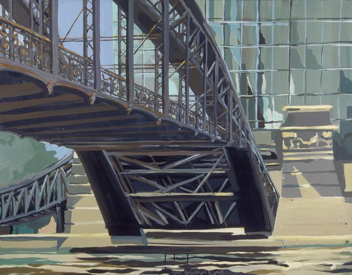 """Passerelle d'Austerlitz - Acrylique sur toile - Peinture de la série """"Les Ponts de Paris"""" de Michelle AUBOIRON"""