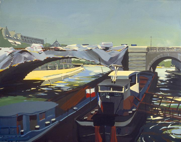 """Pont Sully en travaux - Acrylique sur toile - Peinture de la série """"Les Ponts de Paris"""" de Michelle AUBOIRON"""
