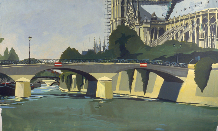 """Pont de l'Archevéché et Notre-Dame - Acrylique sur toile - Peinture de la série """"Les Ponts de Paris"""" de Michelle AUBOIRON"""