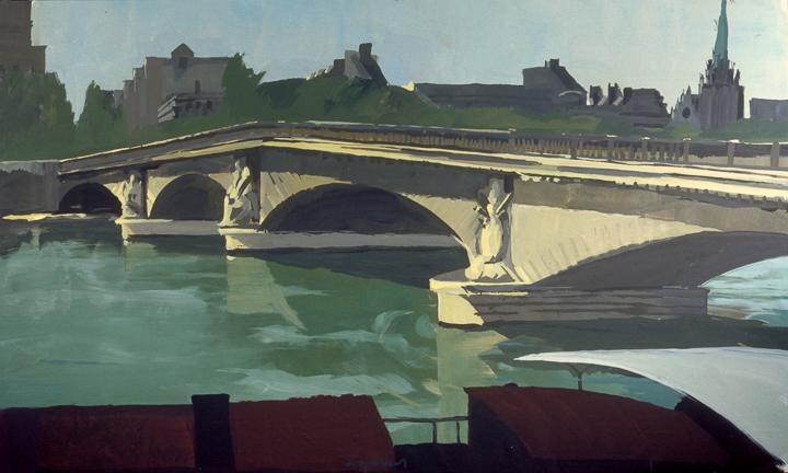 """Pont des Invalides - Acrylique sur toile - Peinture de la série """"Les Ponts de Paris"""" de Michelle AUBOIRON"""
