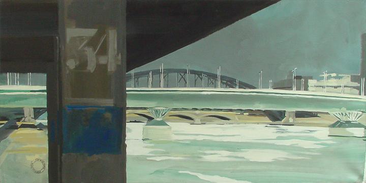 """Le Pont Charles de Gaulle - Acrylique sur toile - Peinture de la série """"Les Ponts de Paris"""" de Michelle AUBOIRON"""