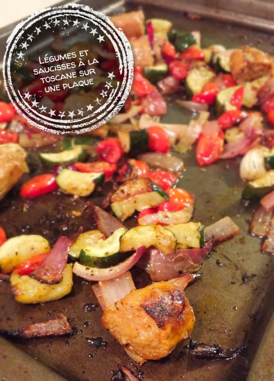 Légumes et saucisses à la toscane sur une plaque - Auboutdelalangue.com