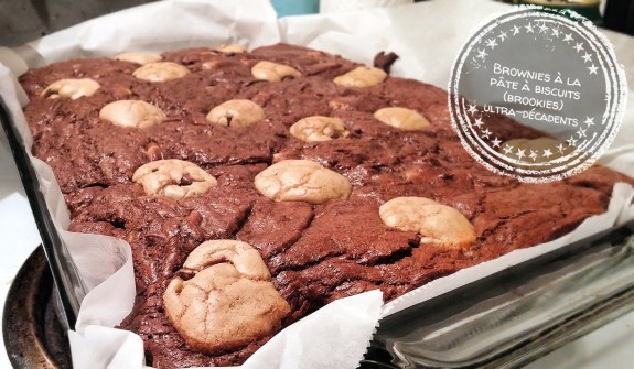 Brownies à la pâte à biscuits (brookies) ultra-décadents - Auboutdelalangue.com