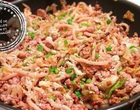 Sauté de nouilles udon et porc haché - Auboutdelalangue.com