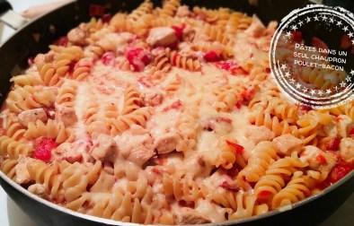 Pâtes dans un seul chaudron poulet-bacon - Auboutdelalangue.com