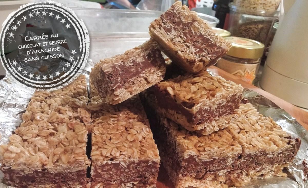 Carrés au chocolat et beurre d'arachide sans cuisson