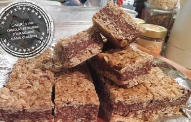 Carrés au chocolat et beurre d'arachide sans cuisson - Auboutdelalangue.com