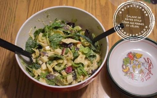 Salade de pâtes style César aux pommes et au céleri - Auboutdelalangue.com