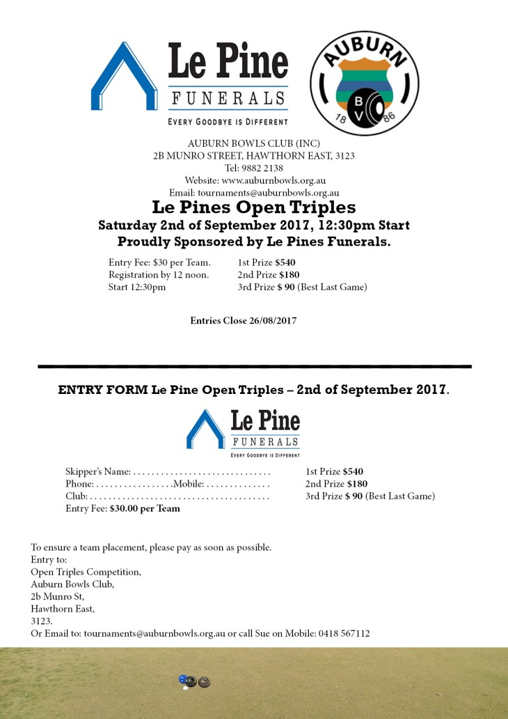Le Pines Triples Entry Form