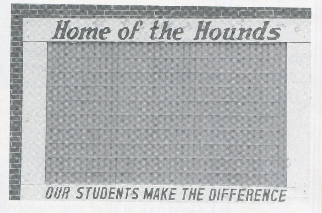 The sign which once adorned the side of the gym, 1999