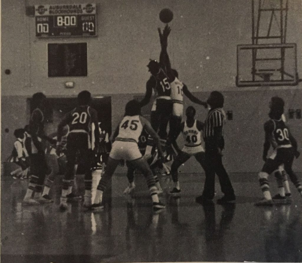 Basketball in the gym, 1974