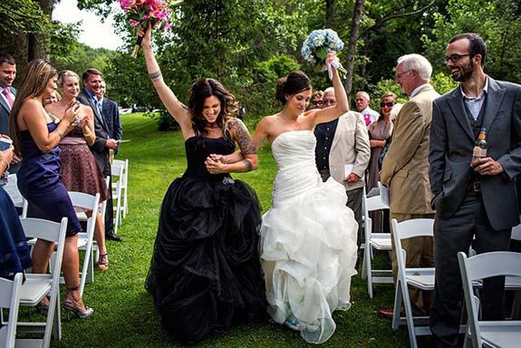 Same-sex wedding fashion for lesbian weddings