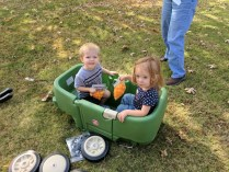 Cousins in the wagon