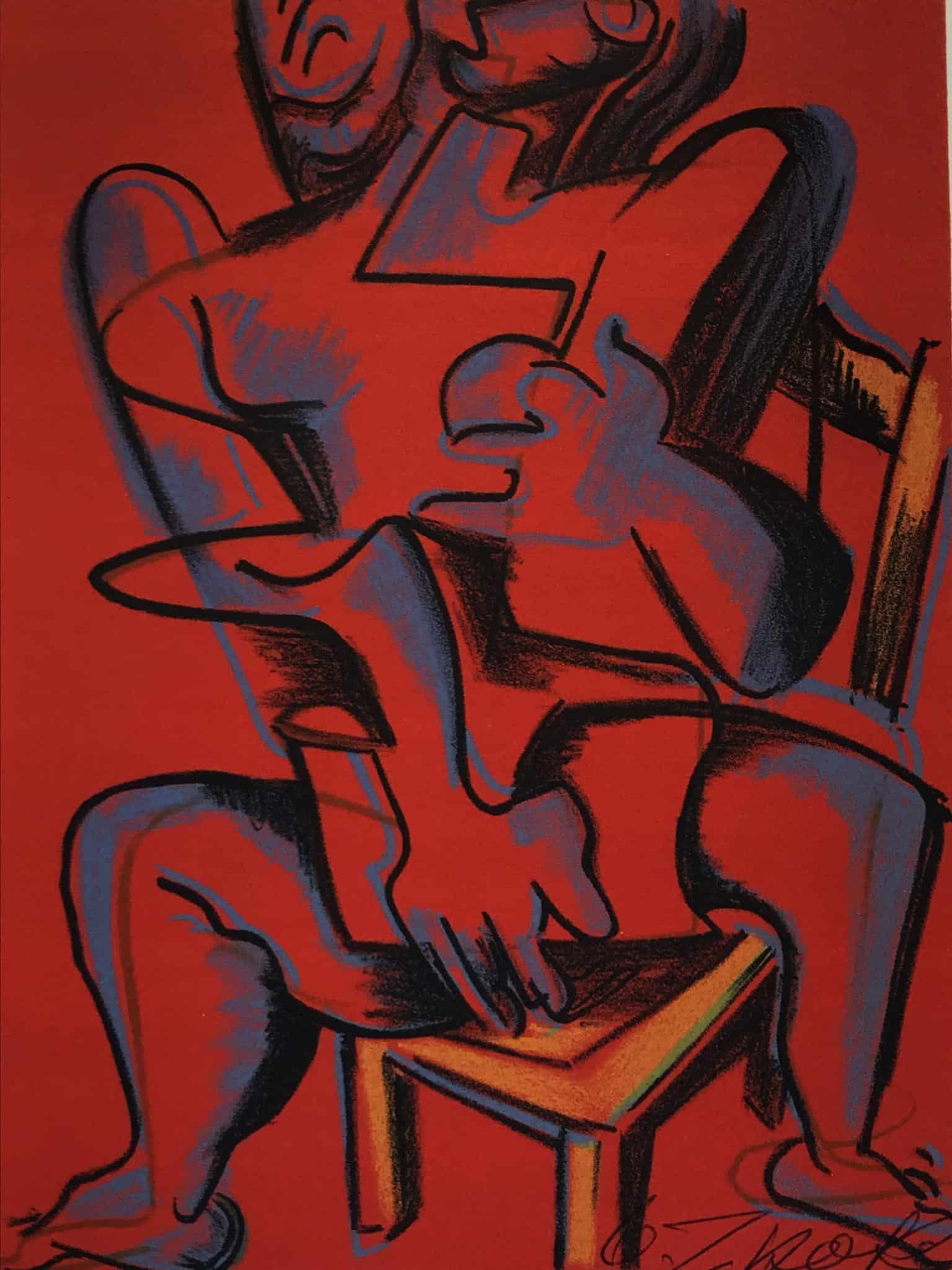 Lithographie Zadkine Travaux Hercule Rouge