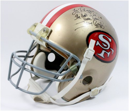 a90b877abba Rare Jerry Rice Game Worn Helmet Highlights Worthridge Fall Sports ...