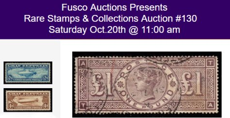 Bid Now: Fusco Auctions Rare Stamp & Collections Auction