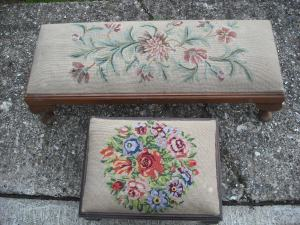 2 Footstools 80cm x 32cm and 40cm x 30cm. Solid wood with embroidered cushioned tops