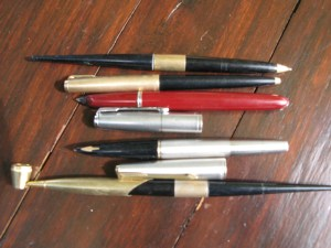 Two Parker Fountain Pens and a Parker Ballpoint with two desk pens