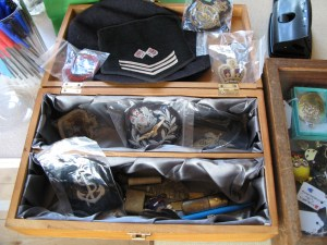 Box of military cloth badges