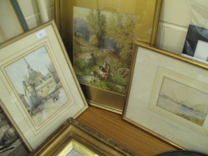 Lot 53 - 3 x Framed Watercolours: Saumur, Borrowdale by Axel Krause and cows. Sold for £65.