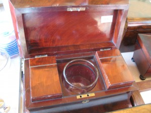 Lot 198 - Tea Caddy with two tea boxes and a glass mixing bowl. Sold for £70