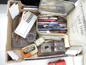 Lot 249 - Box of pens - nibs and ink pots - Sold for £30