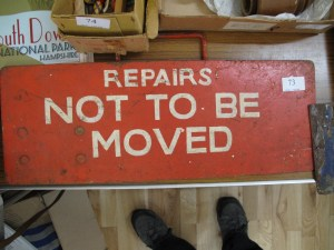 Lot 73 - Repairs Not To Be Moved Railway Sign - Sold for £55