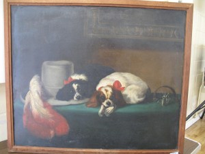 Lot 161 - Victorian oil painting of two King Charles Spaniels - Sold for £150